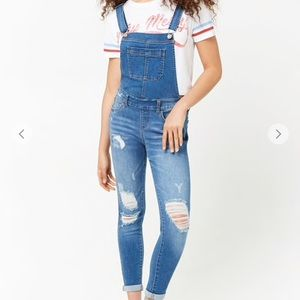 NEW Forever 21 Denim Distressed Overalls